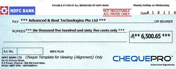 Hdfc Bank Cheque Dimensions