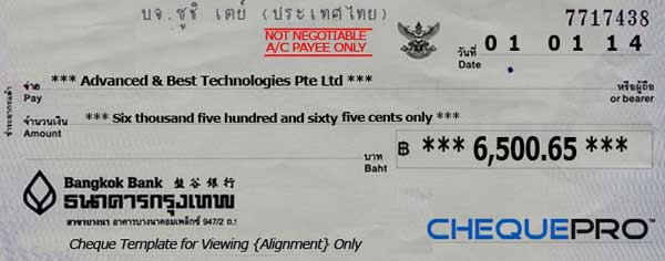 cheque printing writing software for singapore banks