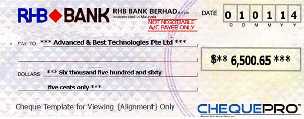 cheque printing writing software for singapore banks, Powerpoint templates