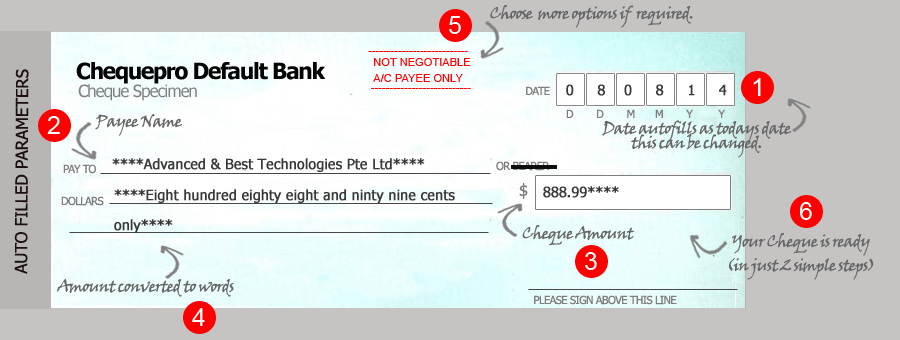 Cheque writing/Cheque printing software autofills cheque parameters